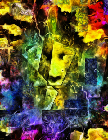 Painting of Face on Mystic Abstract Background