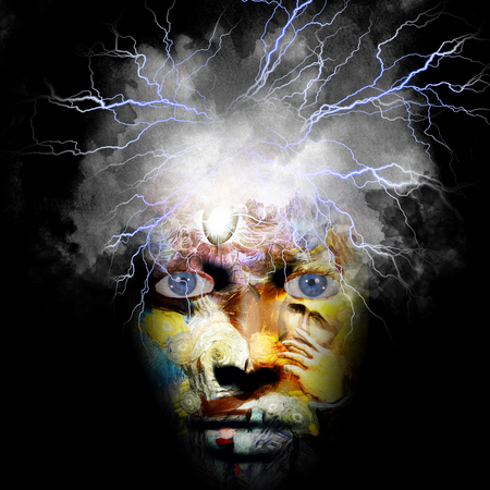 Surreal composition. Face with third eye and stormy cloud Stock Photo