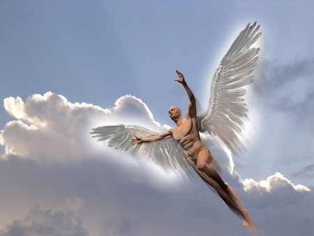 Surrealism. Naked man with white wings flies in the cloudy sky.