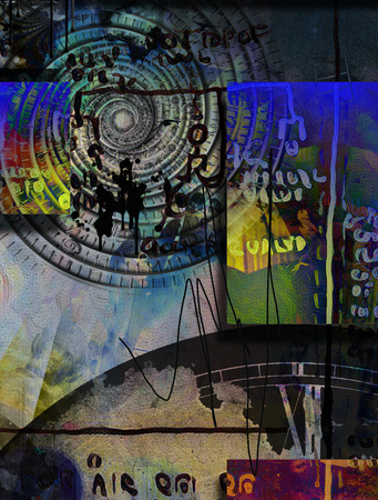 Abstract composition. Time vortex and ancient scripts Stock Photo