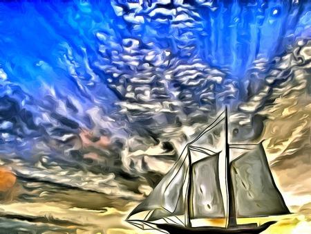 Painting. Sailboat. Dramatic sky.