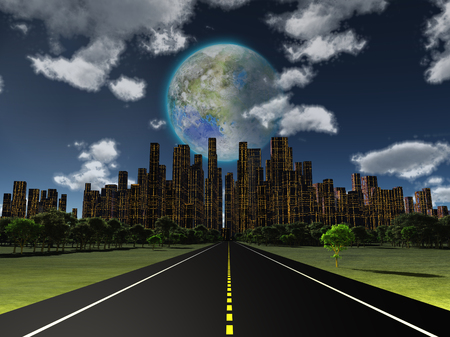 Night roadway to future city. Terraformed moon in the sky. 3D rendering Stock Photo
