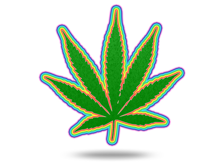 Green marijuana leaf with colorful stroke