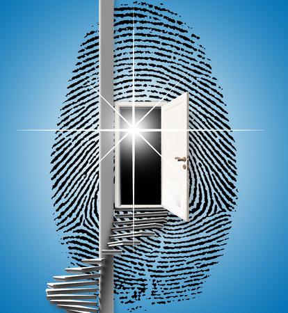 Surrealism. Fingerprint with opened door and spiral ladder. Stock Photo