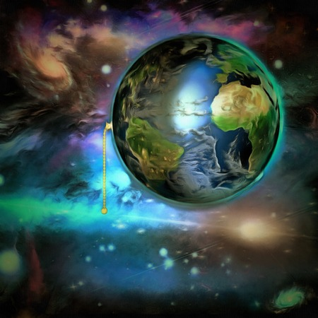 Surreal painting. Planet Earth with switch. Stock Photo