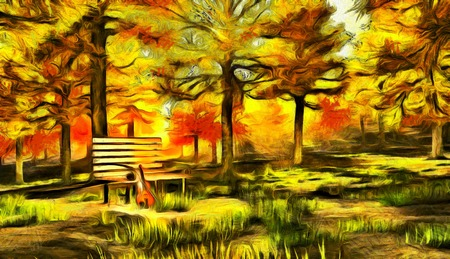 Digital painting in impressionism style. Violin in autumn park.
