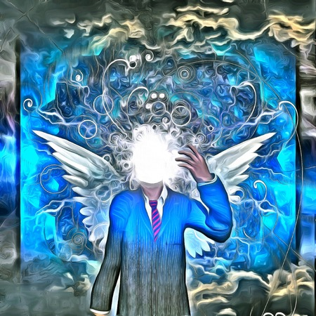 Surreal painting. Faceless man in suit with white wings. Clouds on a background.