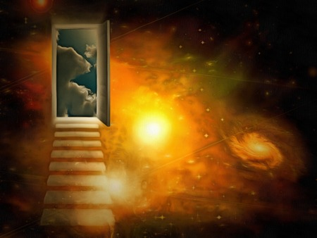 Surreal painting. Open door to another world.