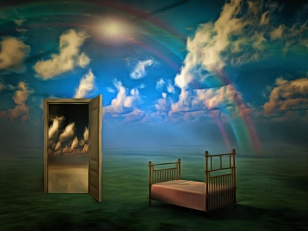 Surreal composition. Doorway to another world. Bed
