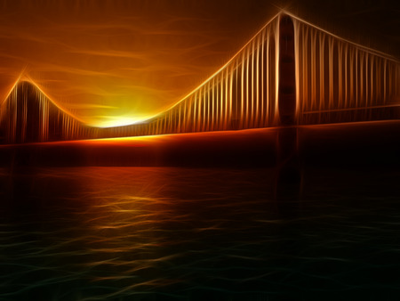 Golden Gate Bridge Painterly Illustration. Vivid Sunset
