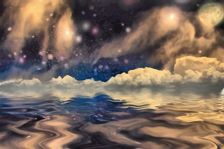 Surrealism. Stars and clouds reflects in the water.