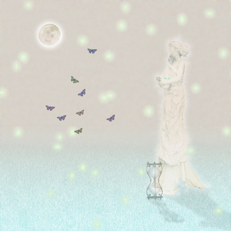 Woman`s marble statue and butterflies. Glowing moon and hourglass. Standard-Bild - 100943235