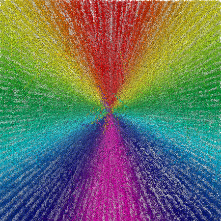 Rays in colors of rainbow with text.