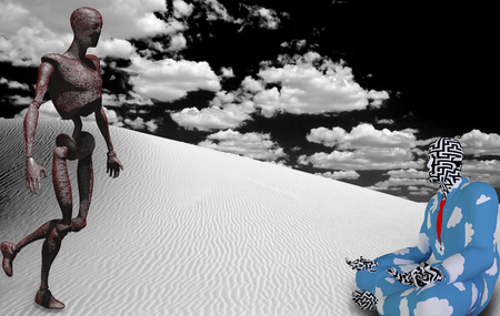 Surrealism. Rusted robot and figure of man in lotus pose in white desert.