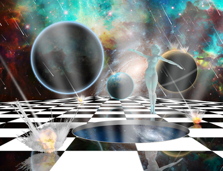 Surreal composition. Armageddon. Asteroids destroy planets. Womans statue from white pure marble. Chessboard in the Universe. Opened wormhole to another dimension - Salvation. 3D rendering Stock Photo