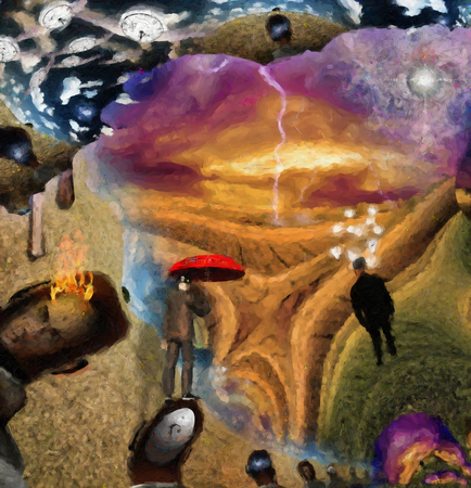 Fantasy Surreal scene. Man with red umbrella, light bulbs symbolizes ideas. Eye of God in the sky. 3D rendering.
