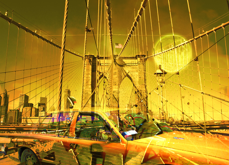 Surreal digital art. Yellow cab on the Brooklyn bridge. Graffiti elements. Full moon in the sky. Stock Photo