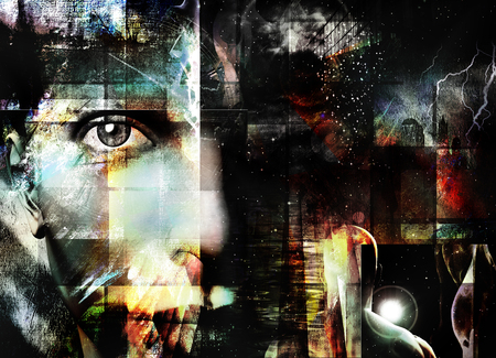 Face peers out from abstract