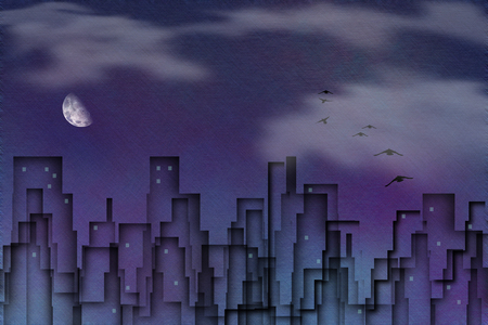 Birds flies above night city. Moon in the cloudy sky Stock Photo
