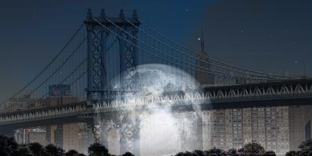 Modern art. Manhattan bridge. Giant moon at the horizon.