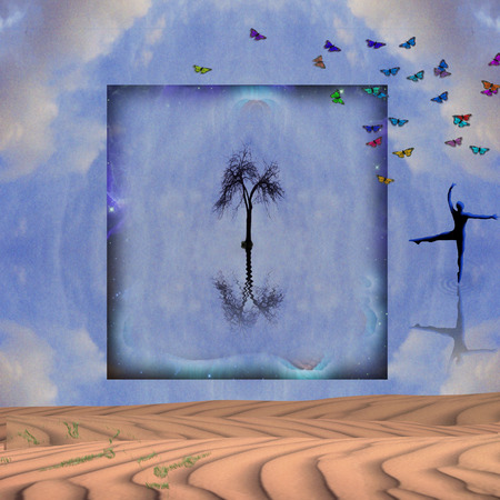Spiritual composition. Lonely tree in square frame. Ballet dancers silhouette. Colorful butterflies Stock fotó