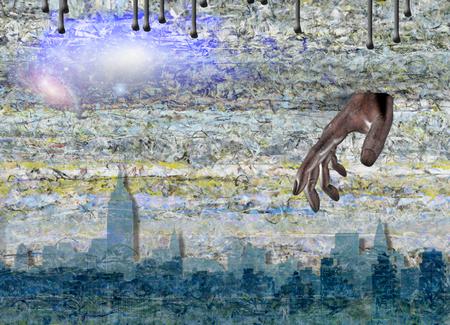 New York Skyline and Hand of God