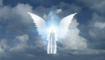 Figure in white cloak stands before winged star in cloudy sky