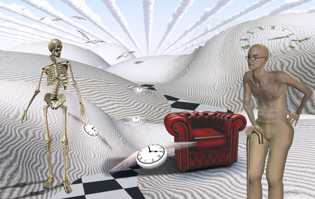 Surreal white desert with red armchair. Old man and skeleton. Winged clocks represents flow of time.