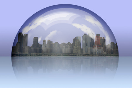 City enclosed in glass sphere