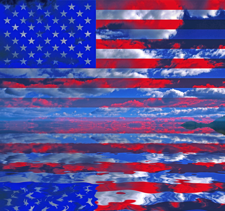 Surreal digital art. USA Flag over clouds reflected in the water. 版權商用圖片