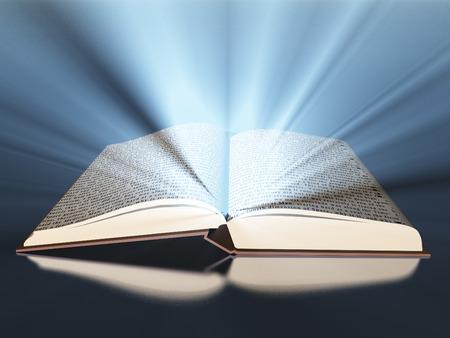 Opened book with light Stock Photo
