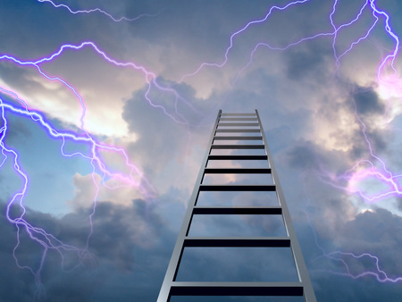 Lightning flasshes with ladder to the top Stock Photo