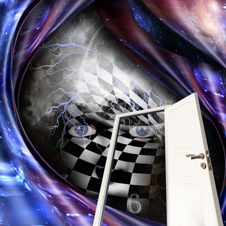 Abstract painting. Chessboard face, time spirals and open door. 3D rendering