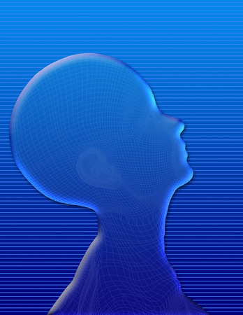 Human head silhouette made of water Archivio Fotografico