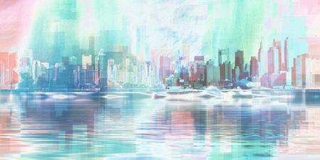 Modern Art. Manhattan, New York panorama in vivid blue colors