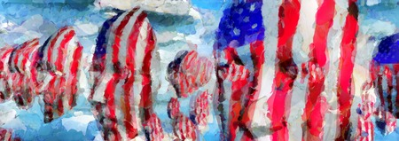 Surreal painting. Faces in US national colors. Stok Fotoğraf