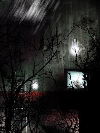Symbolic scene. Dark trees, light bulbs. World War II movie on a TV 版權商用圖片
