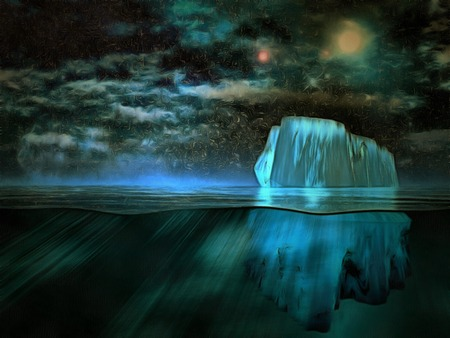 Surreal painting. Iceberg, starry sky. Stock Photo