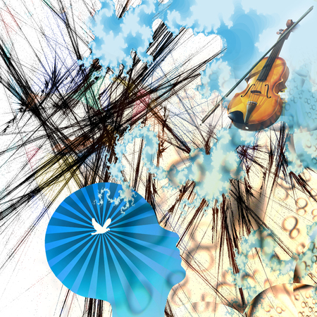 Abstract composition. Violin abd bow in the sky. Silhouette of human head with bird inside