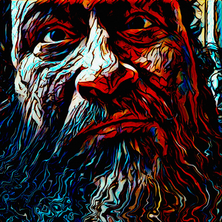 Illustration. Mans face with beard