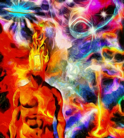 Surreal painting. Naked man with burning head and open door instead of face. Colorful universe on a background.
