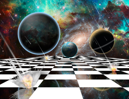 Surreal composition. Armageddon. Asteroids destroy planets. Chessboard in the Universe. 3D rendering