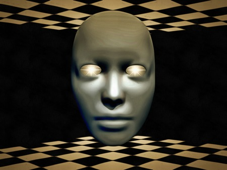 Surreal digital art. Mask with glowing eyes hovers between chessboards.