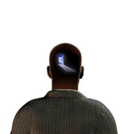 Man with door in mind