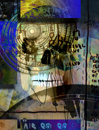 Surreal composition. Human skull and time spiral vortex. Ancient script on the background Stock Photo