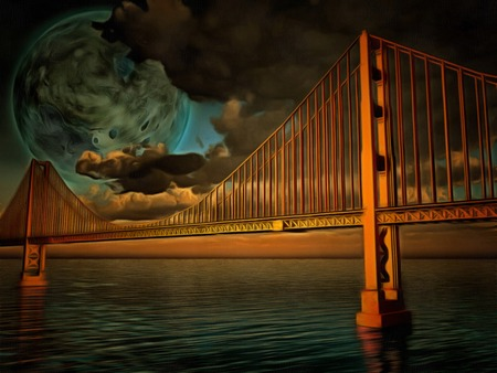 Surreal painting. Golden Gate bridge. Terraformed moon in the sky.