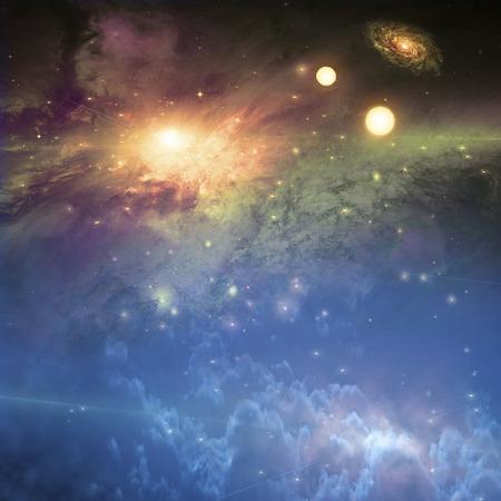 Deep space scene. Bright suns