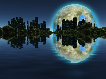 Surreal digital art. Future city with green trees on a water surface. Giant terraformed moon in the sky.