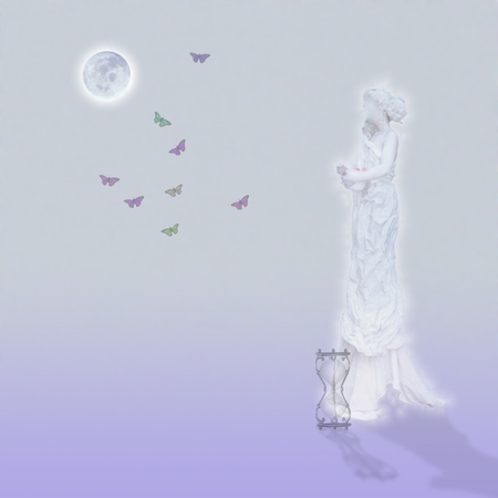 Woman`s marble statue and butterflies. Glowing moon and hourglass. Standard-Bild - 104021296