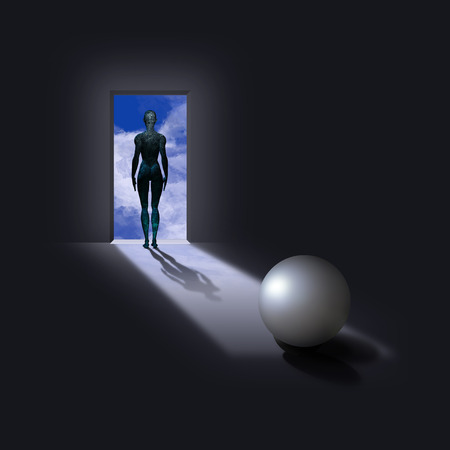 Pearl like sphere with cyborg woman figure in doorway Banque d'images